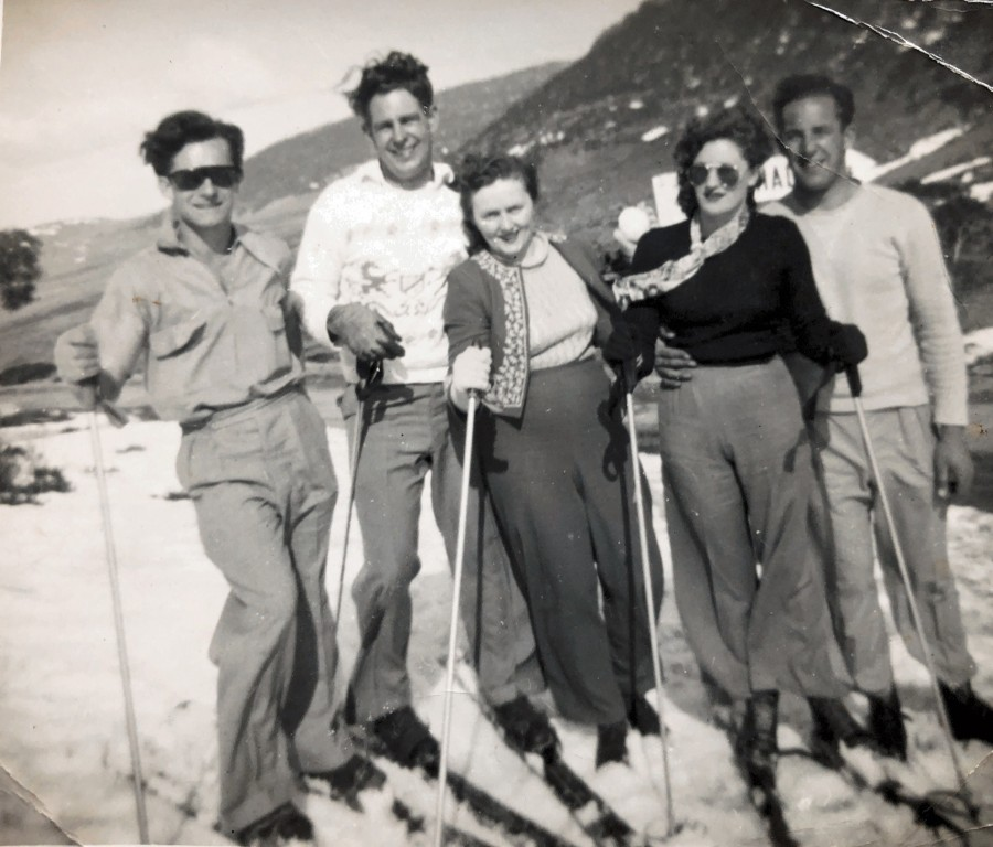 Harry Jones, Barbara and Rex Mahony and friends on a skiing trip
