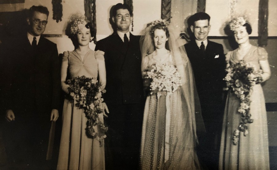 Wedding of Michael Molloy and Molly Scott - August 3rd, 1940 (L to R John McGuiness, Winifred, Dad, Mum, Mr Faucet, Aunty Pat)