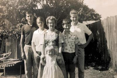 Family photo, taken in our backyard in Haberfield (by Dad). (L to R) Tony, Judith, Molly (Mum), Michael, Christopher and Margaret (front)